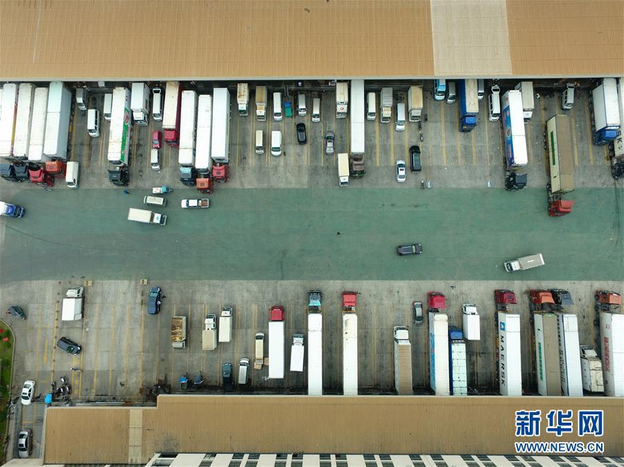 2017年4月11日,在位于福建自由贸易试验区福州片区内的中国-东盟海产品交易所旁的福州名城冷链仓库,运输车辆在装载冷冻海产品。新华社记者 姜克红 摄