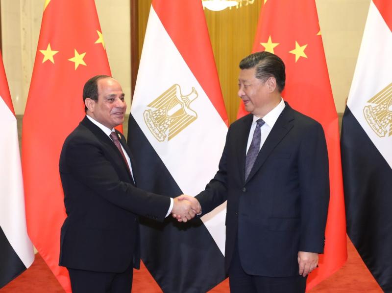 9月1日,国家主席习近平在北京人民大会堂同埃及总统塞西举行会谈。新华社记者 庞兴雷 摄