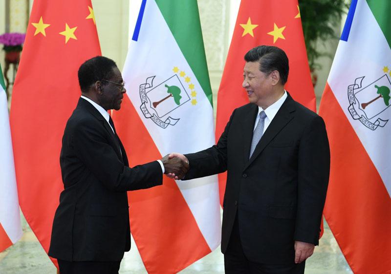 9月2日,国家主席习近平在北京人民大会堂会见赤道几内亚总统奥比昂。新华社记者 高洁 摄