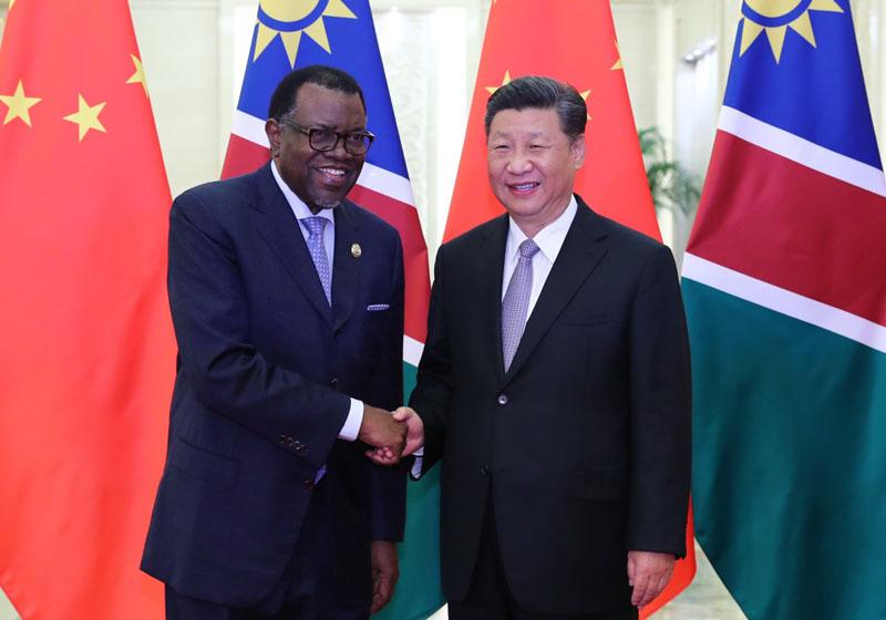 9月2日,国家主席习近平在北京人民大会堂会见纳米比亚总统根哥布。新华社记者 谢环驰 摄