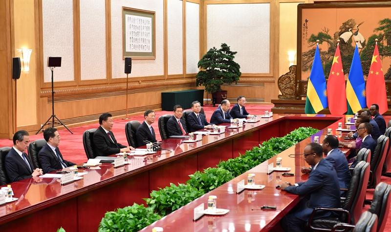 9月4日,国家主席习近平在北京人民大会堂会见卢旺达总统卡加梅。新华社记者 殷博古 摄