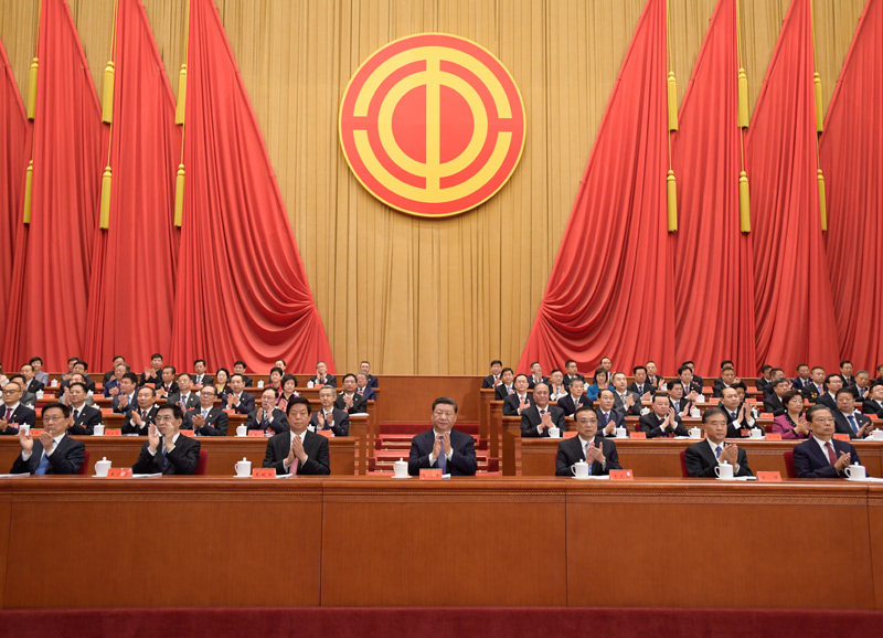 10月22日,中国工会第十七次全国代表大会在北京人民大会堂开幕。习近平、李克强、栗战书、汪洋、王沪宁、赵乐际、韩正等在主席台就座,祝贺大会召开。新华社记者 李学仁 摄