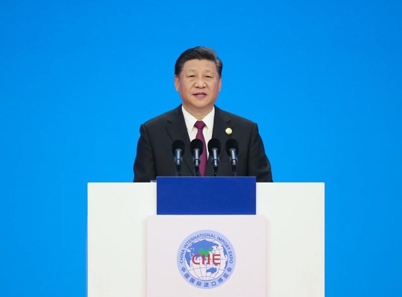 11月5日,首届中国国际进口博览会在上海开幕。国家主席习近平出席开幕式并发表题为《共建创新包容的开放型世界经济》的主旨演讲。新华社记者 姚大伟 摄