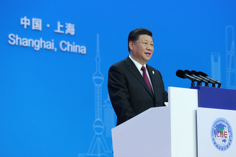 11月5日,首届中国国际进口博览会在上海开幕。国家主席习近平出席开幕式并发表题为《共建创新包容的开放型世界经济》的主旨演讲。新华社记者 谢环驰 摄