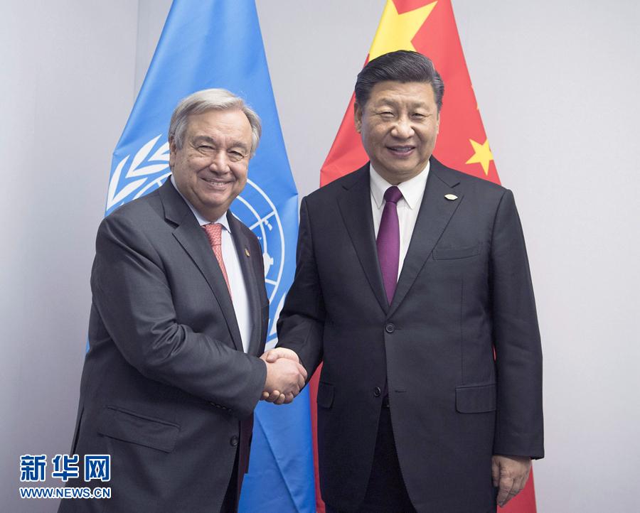 当地时间11月30日,国家主席习近平在布宜诺斯艾利斯会见联合国秘书长古特雷斯。新华社记者 李学仁 摄