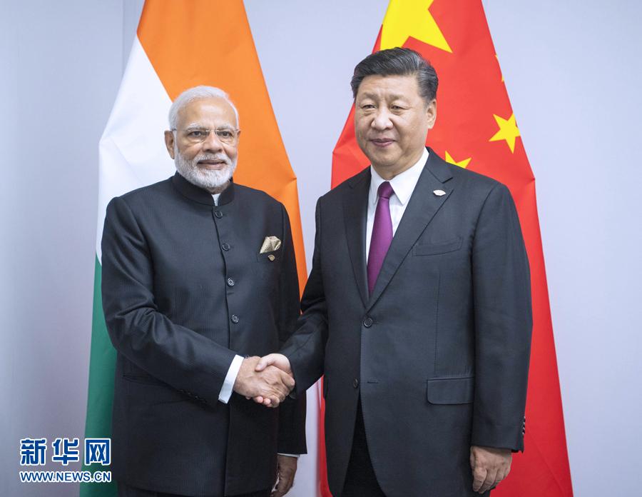 当地时间11月30日,国家主席习近平在布宜诺斯艾利斯会见印度总理莫迪。新华社记者 李学仁 摄