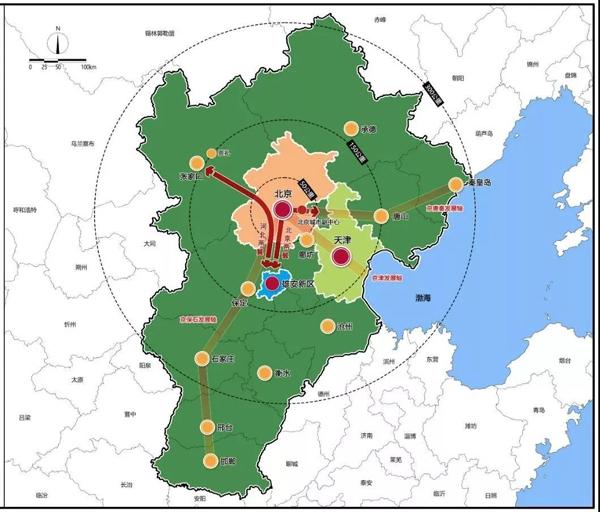 京畿大地上的这一抹未来之蓝,就是雄安新区,规划面积1770平方公里。(图片来源于《河北雄安新区规划纲要》)