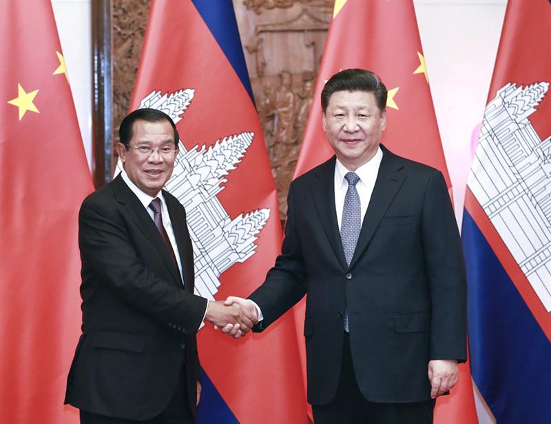 1月21日,国家主席习近平在北京钓鱼台国宾馆会见柬埔寨首相洪森。新华社记者 庞兴雷 摄