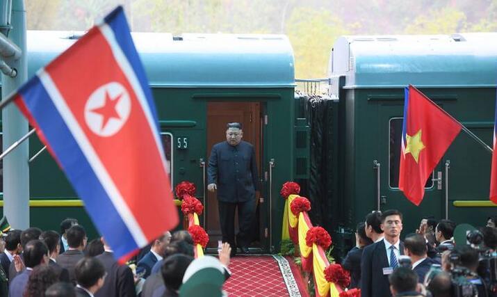 26日,金正恩抵达越南同登站。