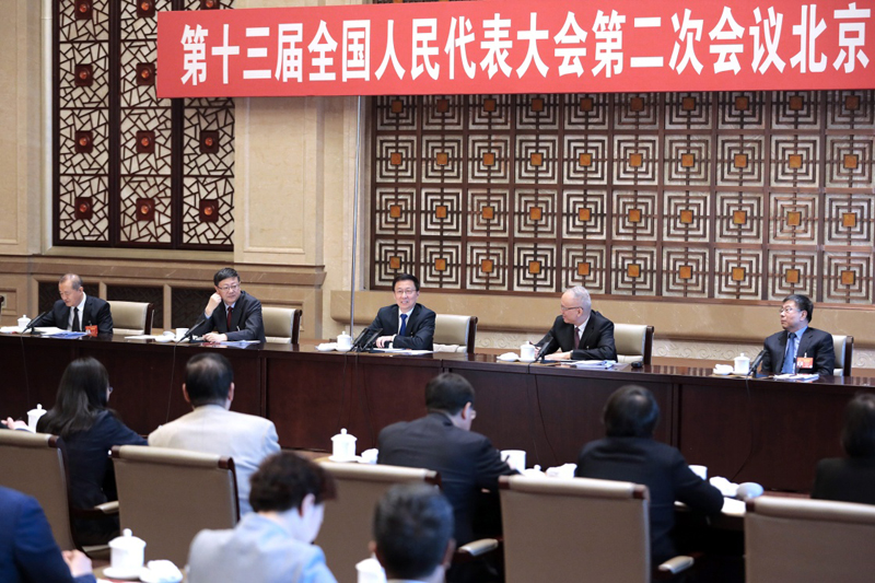 3月8日,中共中央政治局常委、国务院副总理韩正参加十三届全国人大二次会议北京代表团的审议。