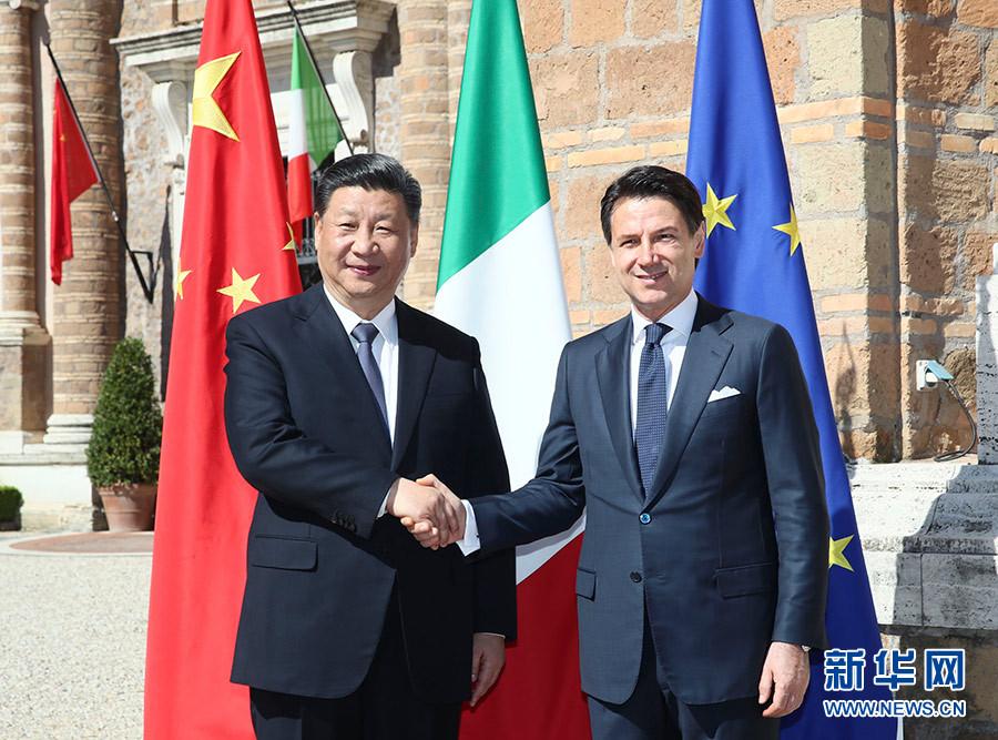 3月23日,国家主席习近平在罗马同意大利总理孔特会谈。新华社记者 兰红光 摄