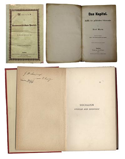 左上图为1848年《共产党宣言》德文第一版。右上图为1867年《资本论》德文第1卷第一版。下图为恩格斯的题字赠书《社会主义从空想到科学的发展》,1892年英文版。 中央党史和文献研究院供图