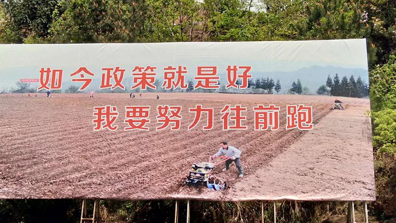 这是石柱县的扶贫标语。4月15日下午,习近平总书记在华溪村村民、老党员马培清家中与村民代表座谈时就引用了这句标语。