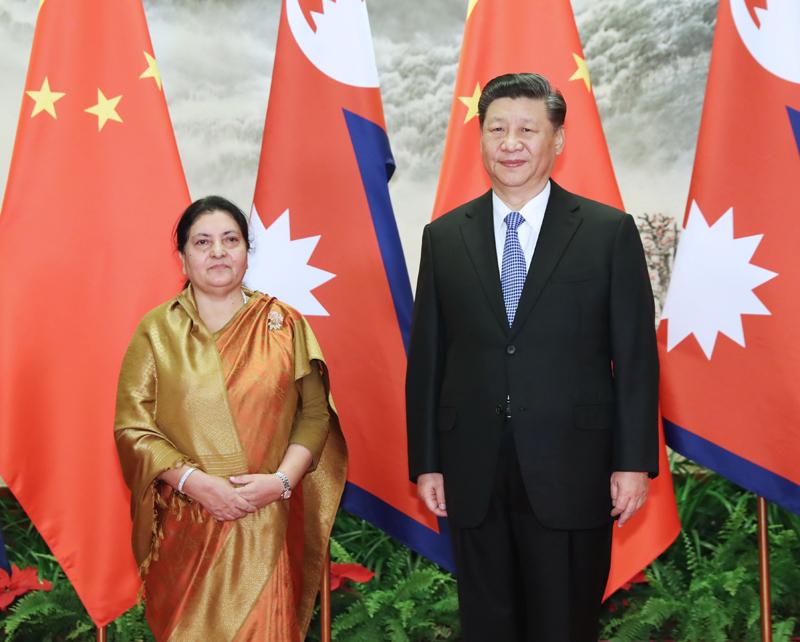 4月29日,国家主席习近平在北京人民大会堂同尼泊尔总统班达里举行会谈。