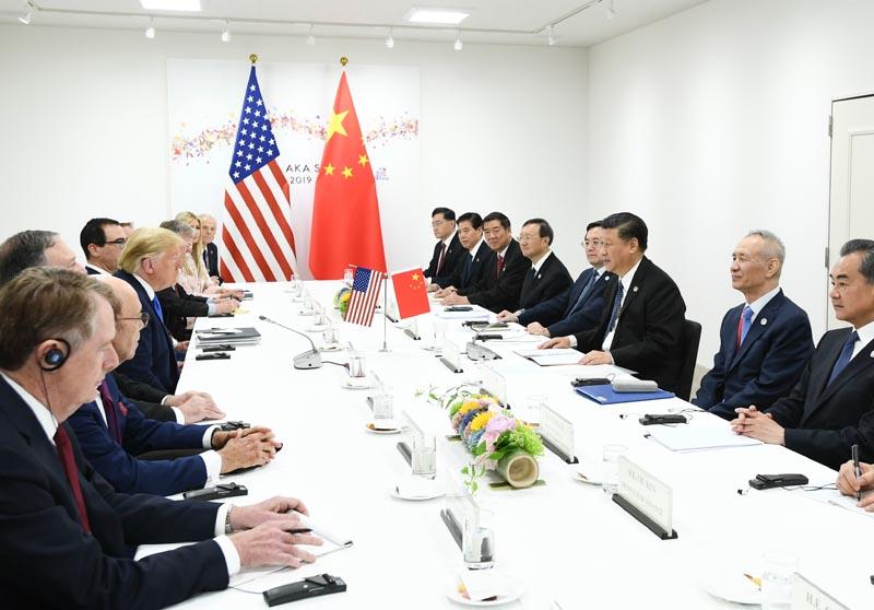 当地时间6月29日上午,国家主席习近平同美国总统特朗普在日本大阪举行会晤。 新华社记者 谢环驰 摄