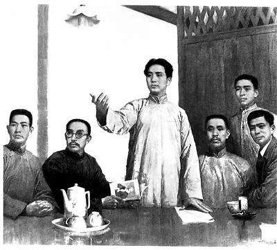 油画《在党的第一次代表大会上》,左起依次是王尽美、何叔衡、毛泽东、董必武、邓恩铭、陈潭秋