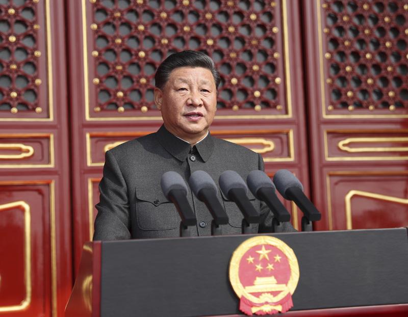 10月1日上午,庆祝中华人民共和国成立70周年大会在北京天安门广场隆重举行。中共中央总书记、国家主席、中央军委主席习近平发表重要讲话。