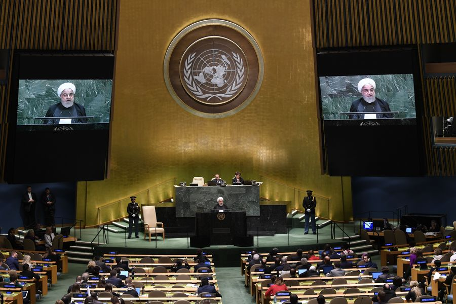 Iranian President Hassan Rouhani (C) addresses the General Debate of the 74th session of the UN General Assembly at the UN headquarters in New York, on Sept. 25, 2019. Rouhani on Wednesday ruled out negotiations with the United States unless the latter lifts sanctions on his country first. (Xinhua/Liu Jie)