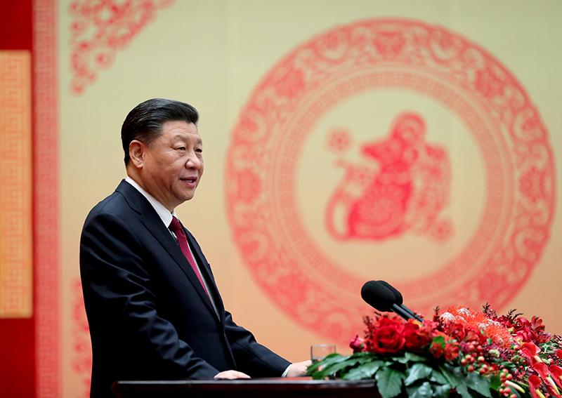 1月23日,中共中央、国务院在北京人民大会堂举行2020年春节团拜会。中共中央总书记、国家主席、中央军委主席习近平发表讲话。