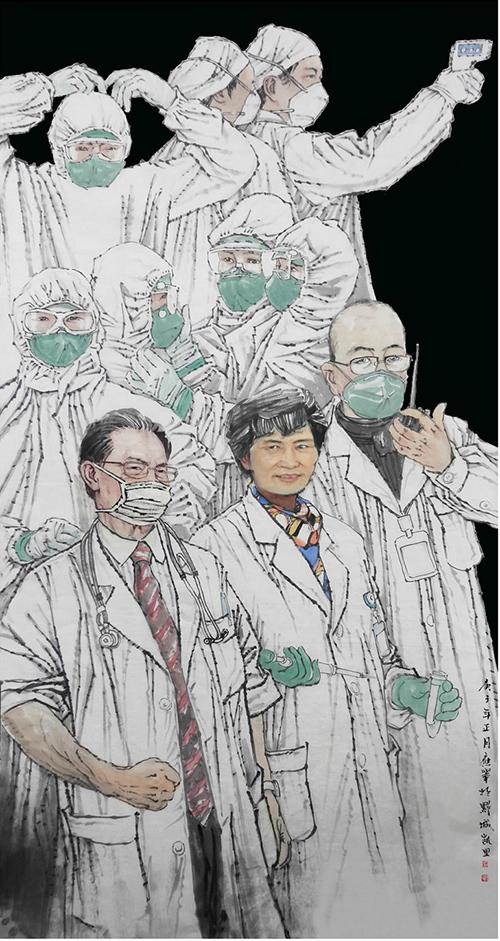 《抗疫英雄譜華章》 鐘應舉 中國畫