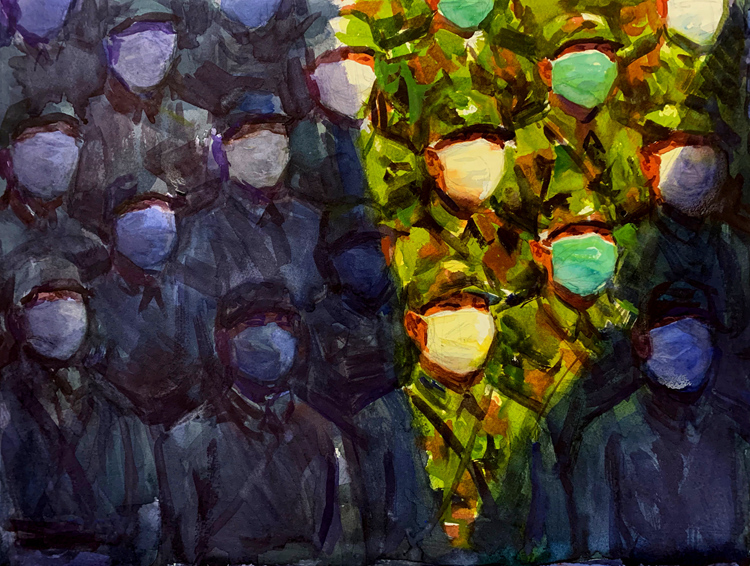 《沒有硝煙的戰場》之四   陳朝生    水彩畫
