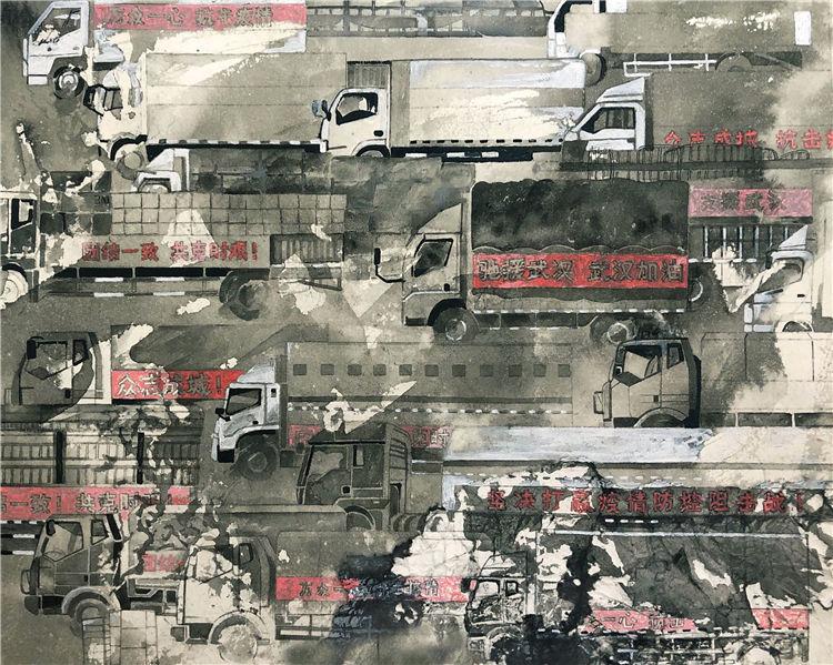 《馳援》張玉惠  漆畫稿
