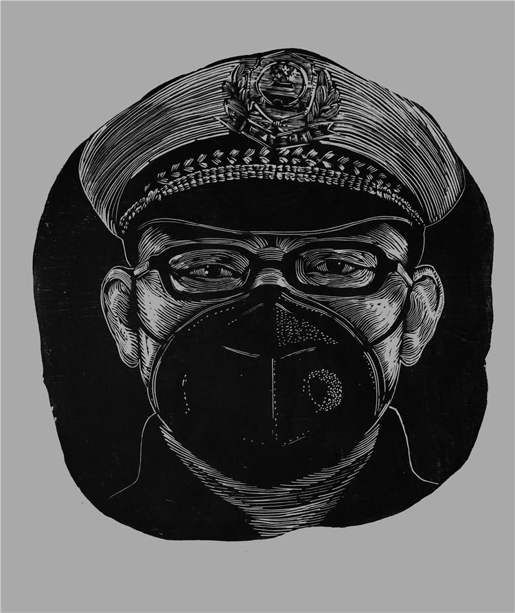 《抗疫一線交警老李》 汪瀅瀅  木版畫