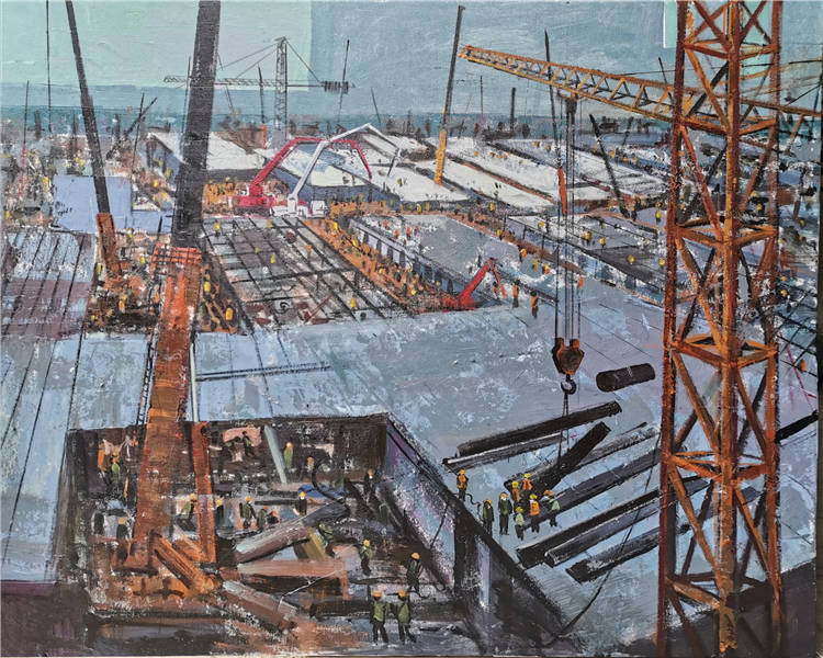 《中國速度——雷神山醫院建設》  楊偉 油畫