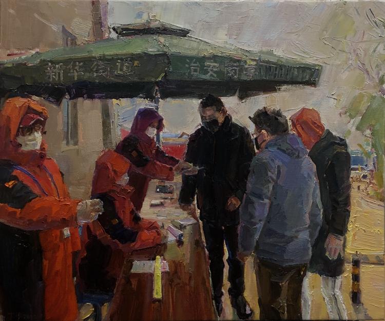 《眾志成城》  丁平 油畫
