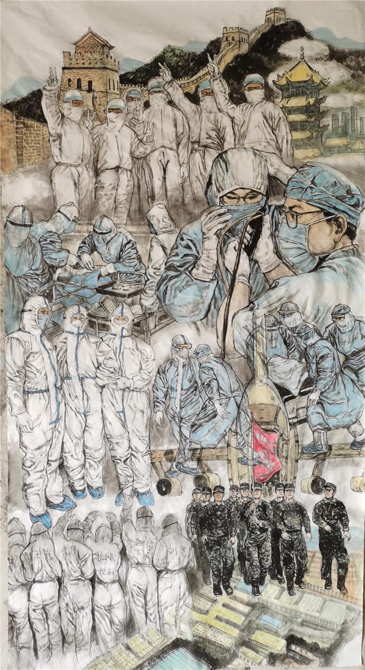 《醫築長城抗疫情》 李也青  中國畫