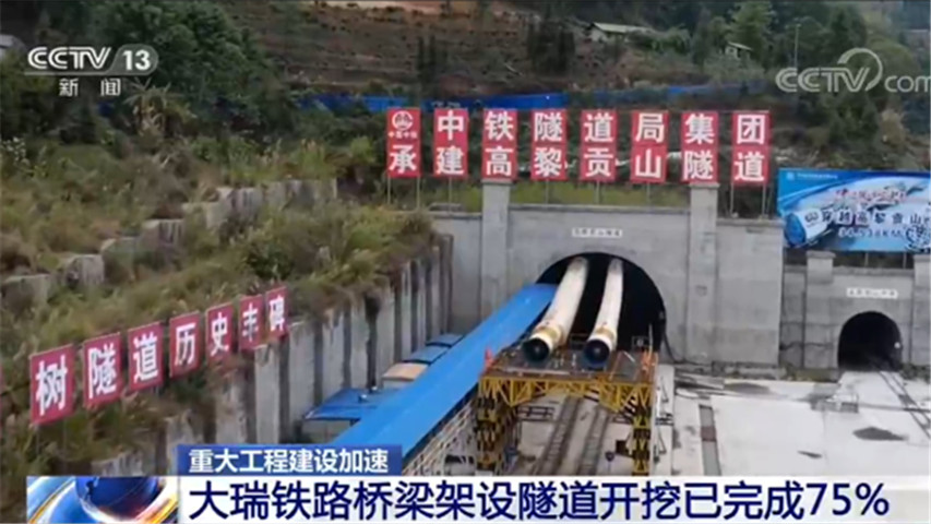 重大工程建設加速 大瑞鐵路橋梁架設隧道開挖已完成75%