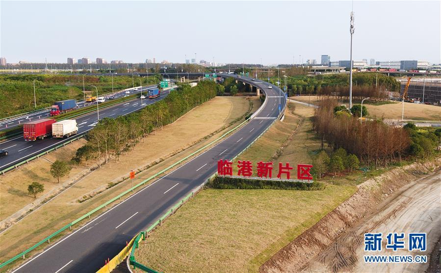 中国(上海)自由贸易试验区临港新片区一角(2019年10月24日摄,无人机照片)。 新华社记者 丁汀 摄