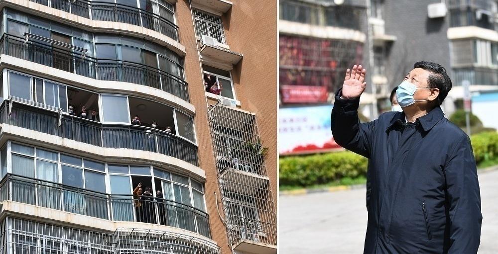3月10日,习近平在东湖新城社区考察时,向在家隔离居住的居民挥手致意、表示慰问。(股票网 来源 人民股票 )