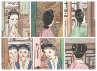 《大觀園圖》小姐、丫鬟的不同髮型前後面,上列為小姐,下列為丫鬟