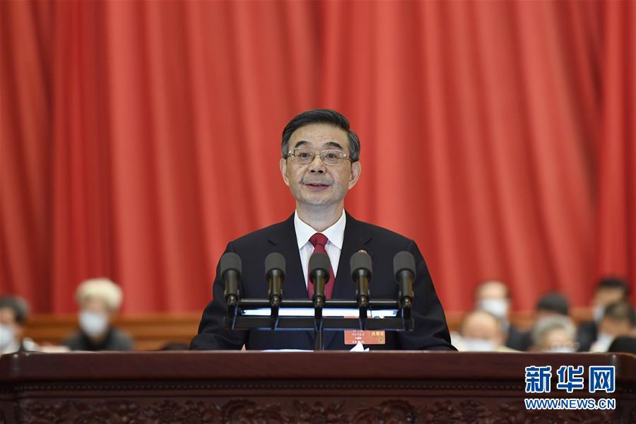 5月25日,十三屆全國人大三次會議在北京人民大會堂舉行第二次全體會議。最高人民法院院長周強代表最高人民法院作工作報告。 新華社記者 岳月偉 攝