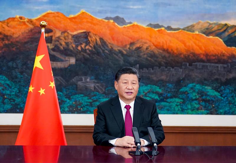 """1月25日,主席在北京以视频方式出席世界经济论坛""""达沃斯议程""""对话会并发表特别致辞。新华社记者 李学仁 摄"""