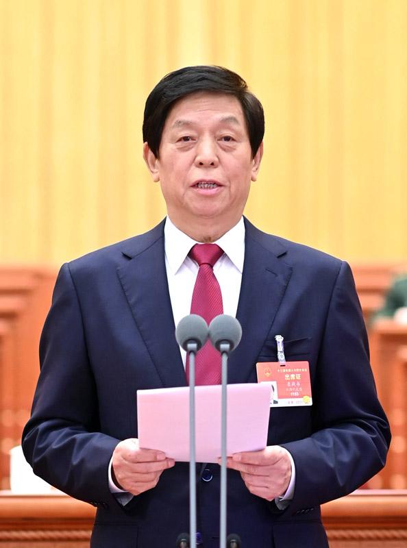 3月11日,第十三届全国人民代表大会第四次会议在北京人民大会堂闭幕。大会主席团常务主席、执行主席栗战书主持闭幕会并发表讲话。新华社记者 李学仁 摄