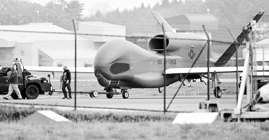 """美军今年1月与日本达成协议,决定将关岛基地的两架美国""""全球鹰""""无"""