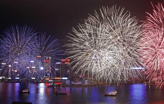 fireworks explode over the victoria harbour to celebrate the chinese lunar new year in hong kong tuesday jan 24 2012 - Chinese New Year Fireworks