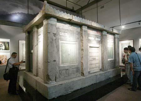 The sarcophagus of Tang empress Wu Huifei (AD 699-737) is displayed in Xi'an, Shaanxi province, on Thursday, June 17, 2010. [China Daily]