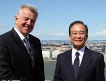 Wen Jiabao rencontre le président hongrois