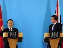 Chine-Royaume-Uni : Wen Jiabao rencontre Cameron à Londres