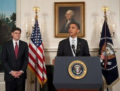 "US President Barack Obama speaks alongside Jacob Lew (L), his nominee for director of the Office of Mangement and Budget (OMB), during the announcement in the Diplomatic Reception Room of the White House in Washington, DC. Obama Tuesday hailed a ""breakthrough"" in his laborious effort to pass sweeping Wall Street reform, after Democrats apparently lined up the votes to pass the landmark bill.(AFP/Saul Loeb)"