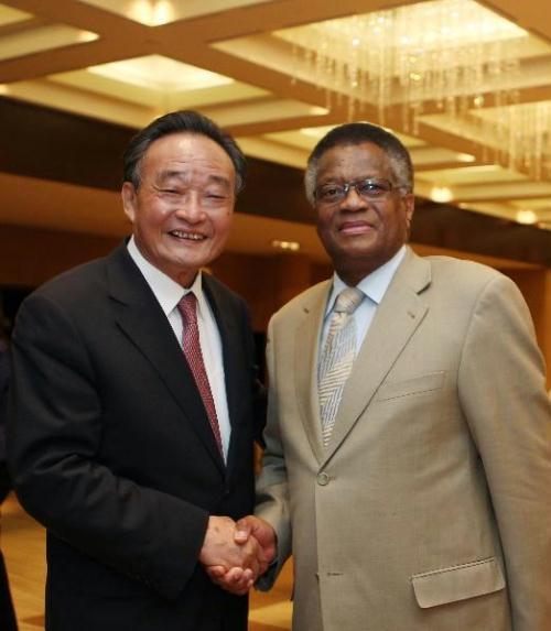 WuBangguo(L),chairmanoftheStandingCommitteeofChina'sNationalPeople'sCongress(NPC),meetswithMaxSisulu,speakeroftheNationalAssemblyofSouthAfrica,inGeneva,Switzerland,July20,2010.(Xinhua/JuPeng)