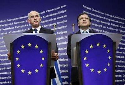 Greek Prime Minister George Papandreou (L) and European Commission President Jose Manuel Barroso hold a joint news conference after a meeting in Brussels March 17, 2010.REUTERS/Yves Herman