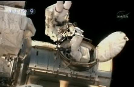 Astronauts from the Space shuttle Discovery have begun the first spacewalk of their mission.