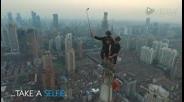 """""""蝙蝠侠""""攀登上海摩天大楼玩自拍"""