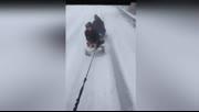 雪天正确出行的打开方式 牛人坐轮胎公路飞速滑雪
