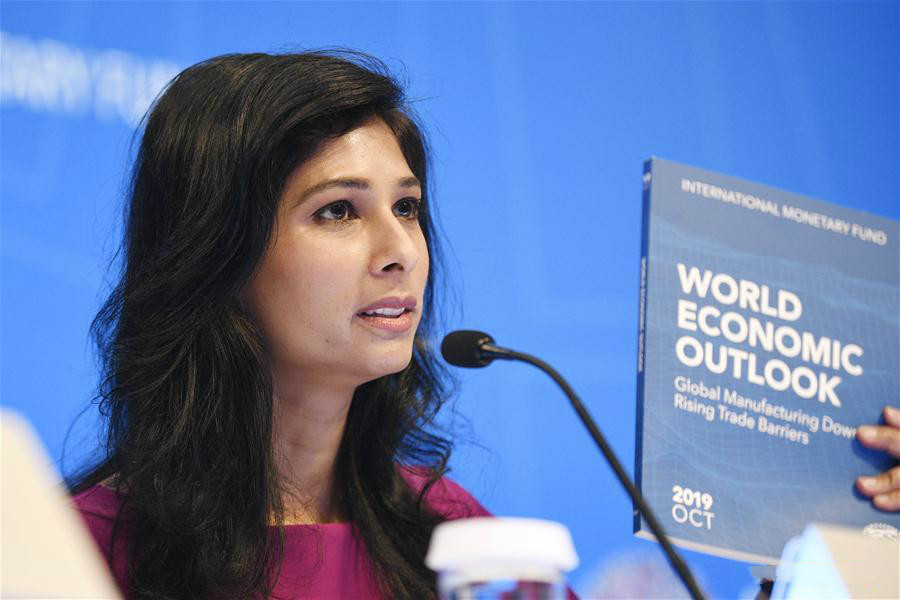International Monetary Fund (IMF) chief economist Gita Gopinath speaks during a press conference in Washington D.C., the United States, on Oct. 15, 2019. The International Monetary Fund (IMF) on Tuesday lowered its global growth forecast for 2019 to 3 percent in the newly-released World Economic Outlook (WEO) report, down 0.2 percentage point from its estimation in July. (Xinhua/Liu Jie)