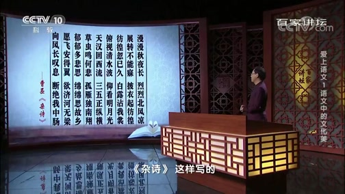 [百家讲坛]爱上语文1 语文中的文化美 古诗中的文化意象